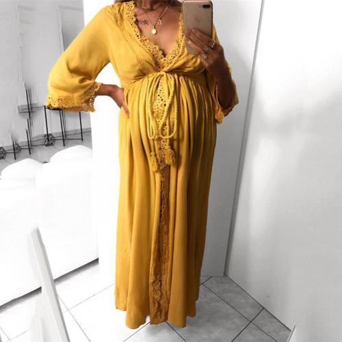 Maternity V-Neck Three-Quarter Sleeve Plain New Lace Side Dress