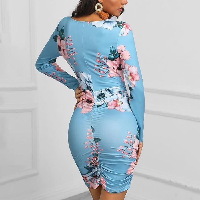Maternity Floral Pattern Blue Deep V Neck Dress