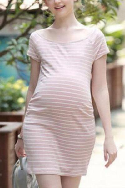 New Striped Dress For Pregnant Women Slim Dress