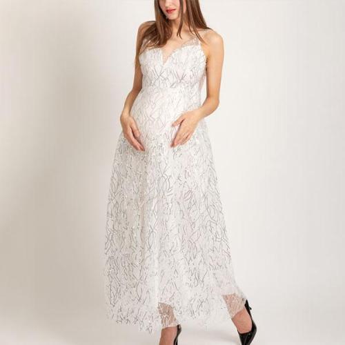 Maternity Lace Backless Deep V-Neck Evening Dress