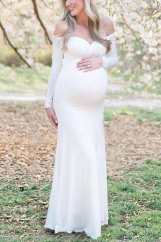 Maternity Off Shoulder Long Sleeve Dress