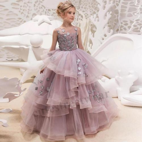 Girl princess dress children's dress catwalk host piano performance dress lace poncho mesh dress