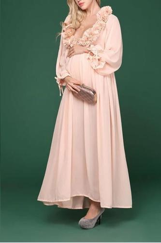 Maternity Sexy Deep V-neck Petal Fabric Long Sleeve Dress
