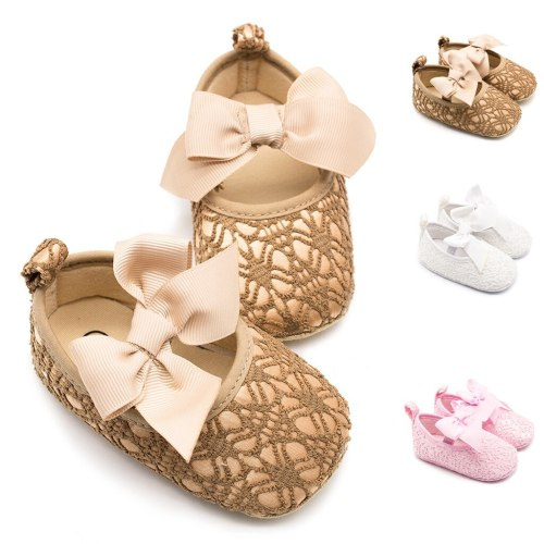 Toddler Kid Girls Princess Cute Toddler First Walk Soft Lace Bow Knot Shoes