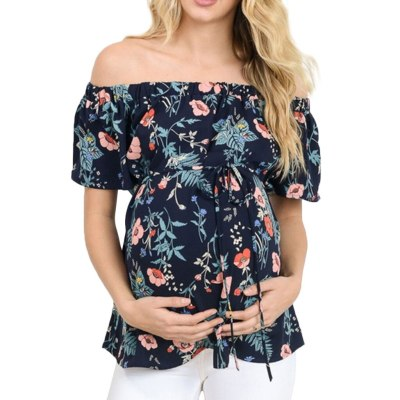 Female Short Sleeve Tops Breastfeeding Off Shoulder T-Shirt