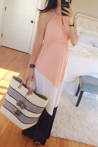 Maternity Halter Neck Color Block Maxi Dress