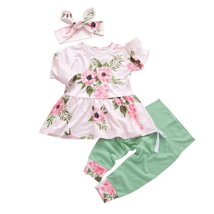 Infant Girl Clothing Long Sleeve Floral Tops Dress Pants Dot Clothes Set