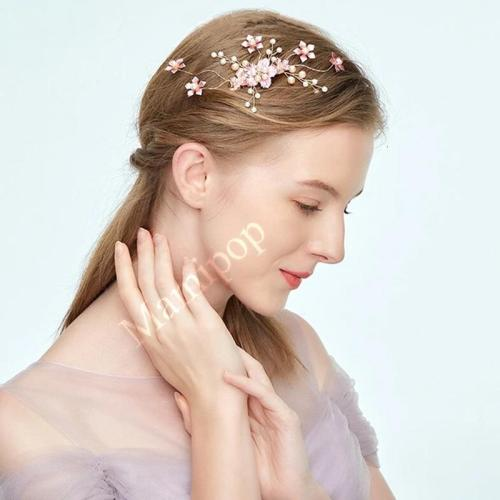 Pink Flower Pearl  Gold Sparkling Hair Comb  Jewelry