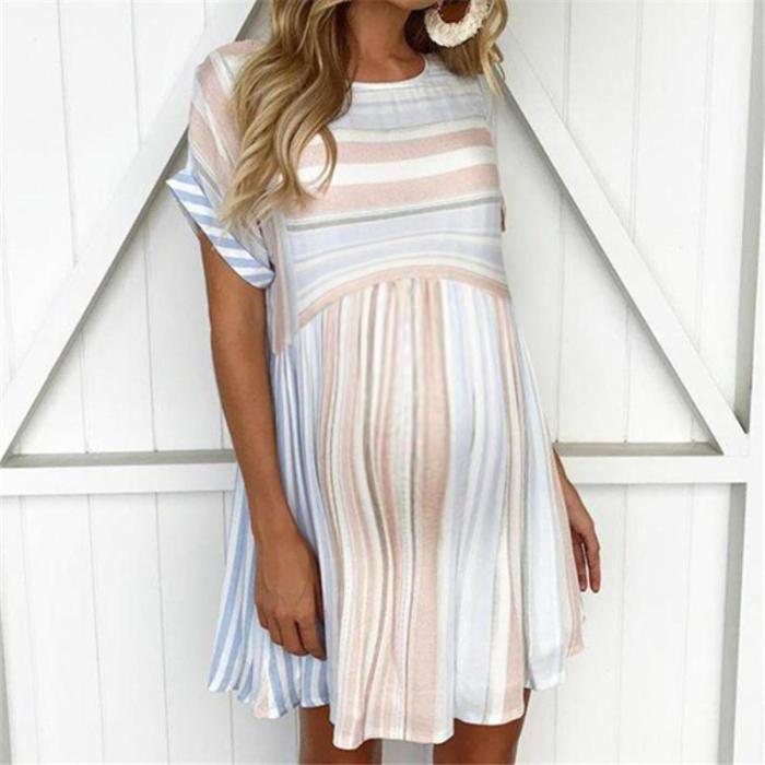 Maternity New Striped Short Sleeve Round Neck Dress