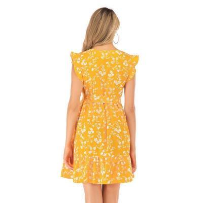 Maternity Wooden Ear Print V-Neck Dress