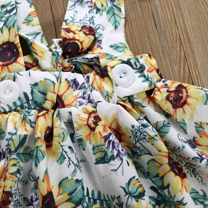 Girl cotton fly sleeve ha dress chrysanthemum back band skirt knot three sets spot