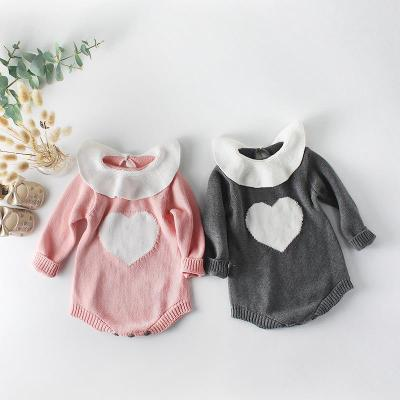 2020 New Baby Collar Love Knitting Wool One-piece Suit Bag Fart