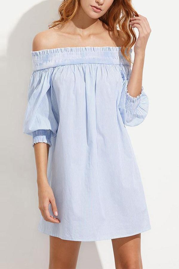 Maternity Pinstriped Off Shoulder Short Dress