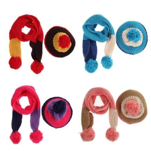Children Winter Warm Knitted Wool Scarf Hat Set