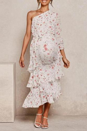 Maternity Off-Shoulder Printed Color Dress