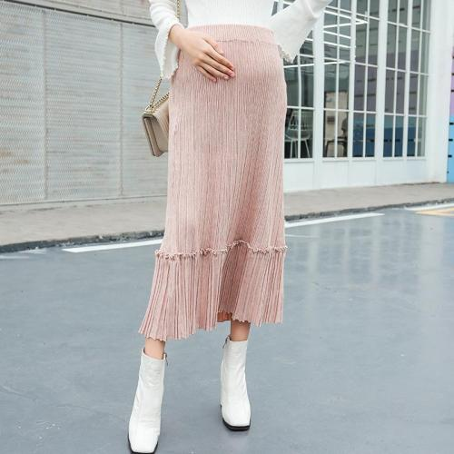 Maternity casual solid color stomach lift pleated knit skirt