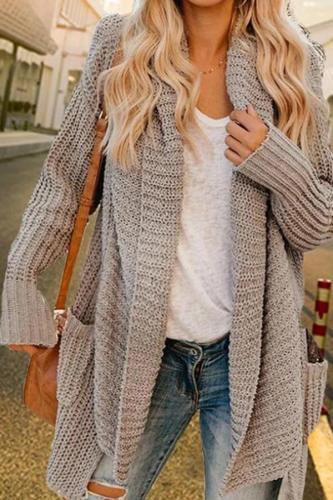 Maternity European And American Loose Long-Sleeved Knit Cardigan
