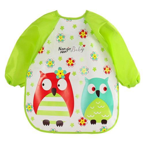 Baby Bibs&Burp Clothes EVA Bib Waterproof Long Sleeve Cartoon Kids Drawing Smock Feeding Accessories