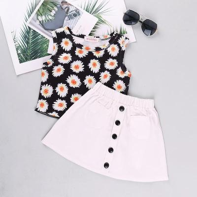 Spring/summer 2020 girls sleeveless suit printed vest skirt two-piece set