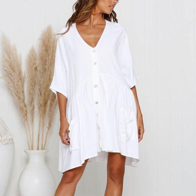 Maternity Plain V-Neck Loose Casual Dress