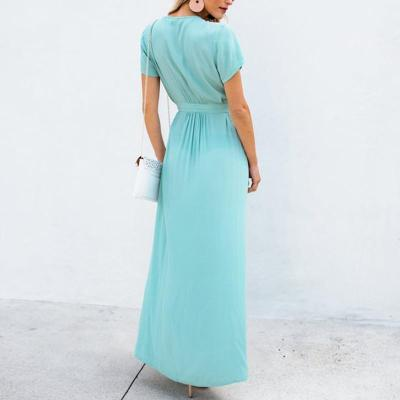 Maternity Commuting V Neck Short Sleeve Pure Colour Dress