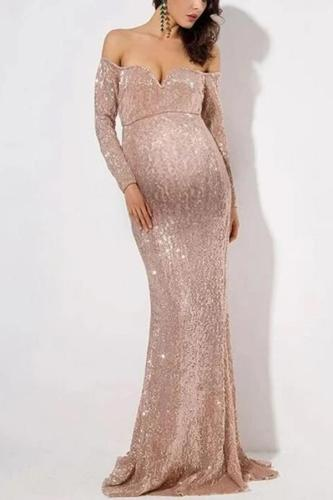 Maternity sexy open shoulder evening dress