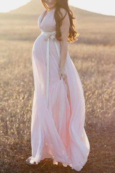 Maternity Elegant Chiffon Evening Dress