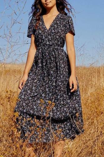 Maternity Fashion V-neck Drawstring Flower Print Dress