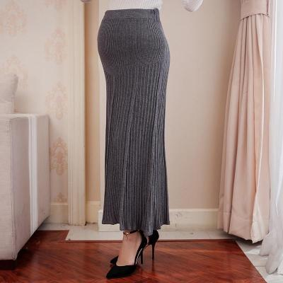 Maternity casual solid color stomach lift knit skirt