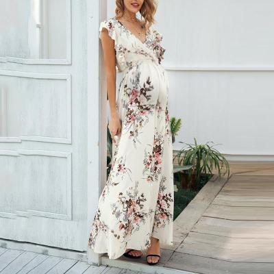 Maternity Sleeveless Printed Color V Neck Dress