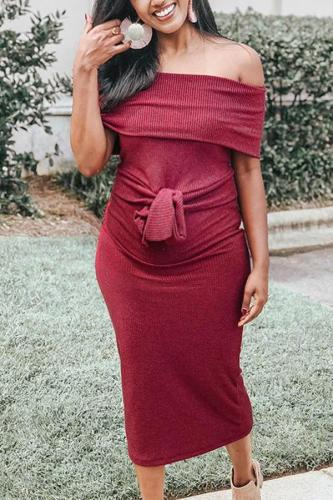 Maternity Sexy Pure Color Off Shoulder Dress