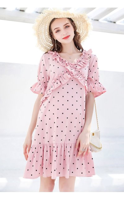 Summer  O Neck Short Sleeve Dot Pink Mini Bohemian Dress