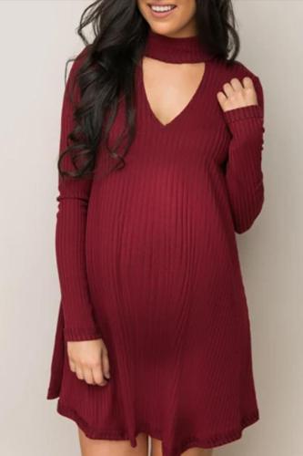Maternity Long Sleeve V-Neck Sweater Dress