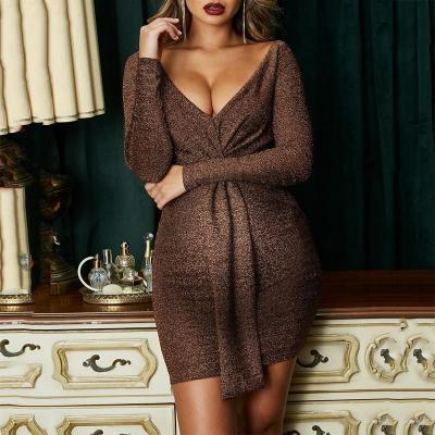 Maternity Casual  Deep V-Neck Long Sleeve Pure Color Tight Dress