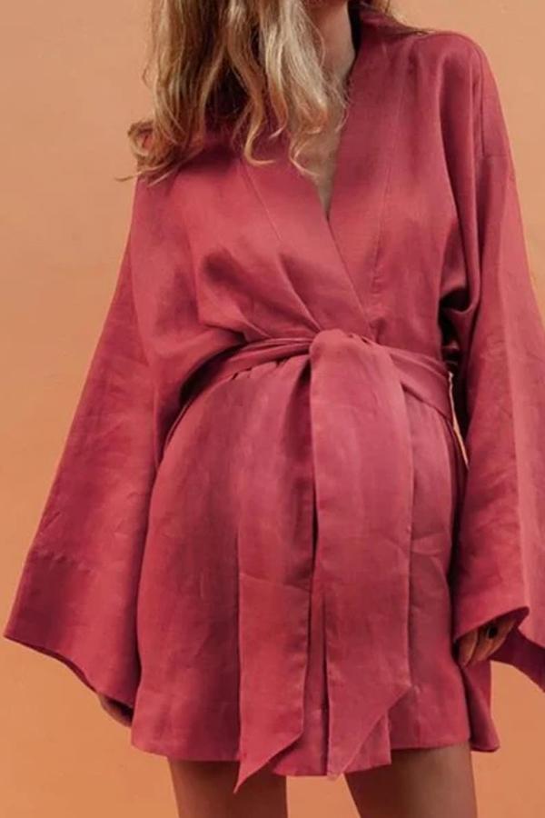 Maternity Sexy Solid Color V-Neck Bat Sleeve Dress