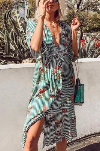 Maternity V-Neck Printed Striped Dress