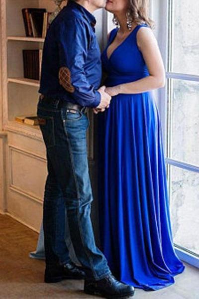 Maternity V-Neck Sleeveless Full Length Baby Shower Dress