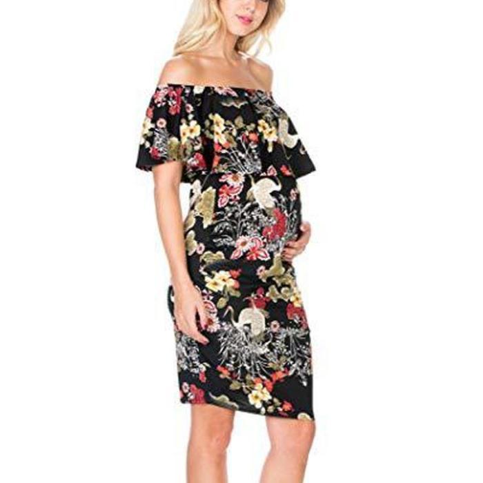 Maternity Floral Print Off Shoulder Bodycon Dress