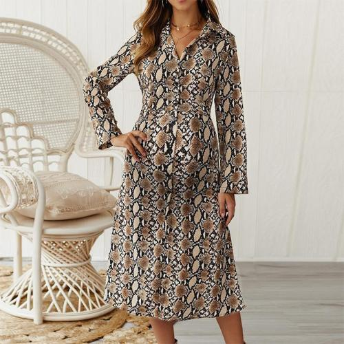Maternity Casual Printed Fold Over Collar Long Sleeve Dress