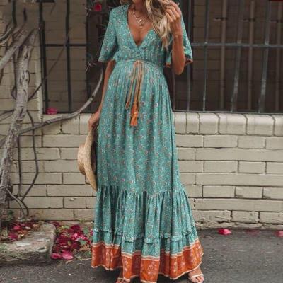 Maternity V Neck Floral Pattern Dress