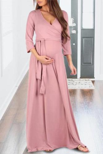 Maternity Full Length Dress With Adjustable Belt