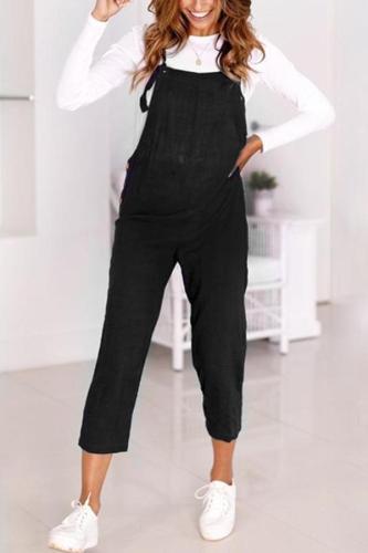 Maternity Solid Color Vest  Jumpsuits