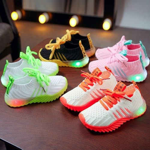 Fashion kids shoes Children Kid Baby Girls Boys Candy Color LED Luminous Sport Run Sneakers Shoes