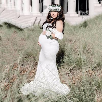Maternity Dresses For Photo Shoot Pregnant Women Sexy Shoulderless Mermaid Gown Pregnancy Dress