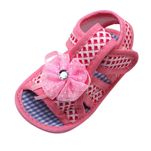Newborn Baby Girls Applique Prewalker Soft Sole Single Shoes Applique Toddler Shoes Buckle Shoes