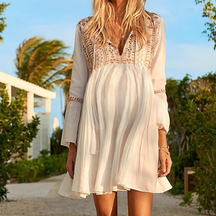 Maternity Fashion V Neck Bell Sleeve Inwrought Dress