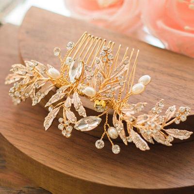 Gold Leaf Bridal Hair Comb Handmade Wedding Hair Accessories
