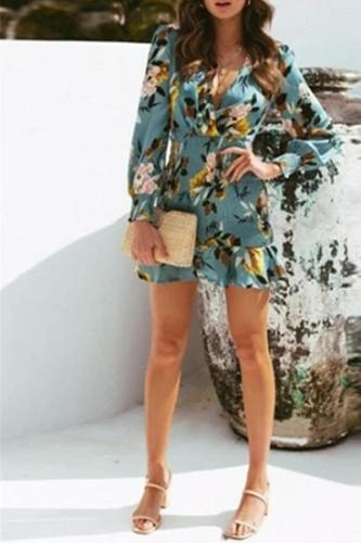 Fashion Deep V Long Sleeve Printed Dresses