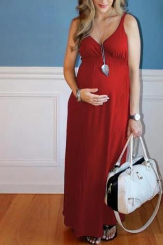 Maternity Solid Color Maxi Dress