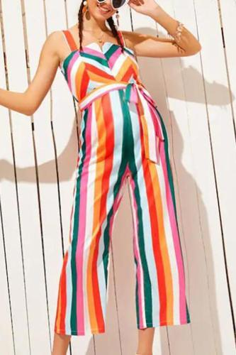 Maternity Stripe  Jumpsuit